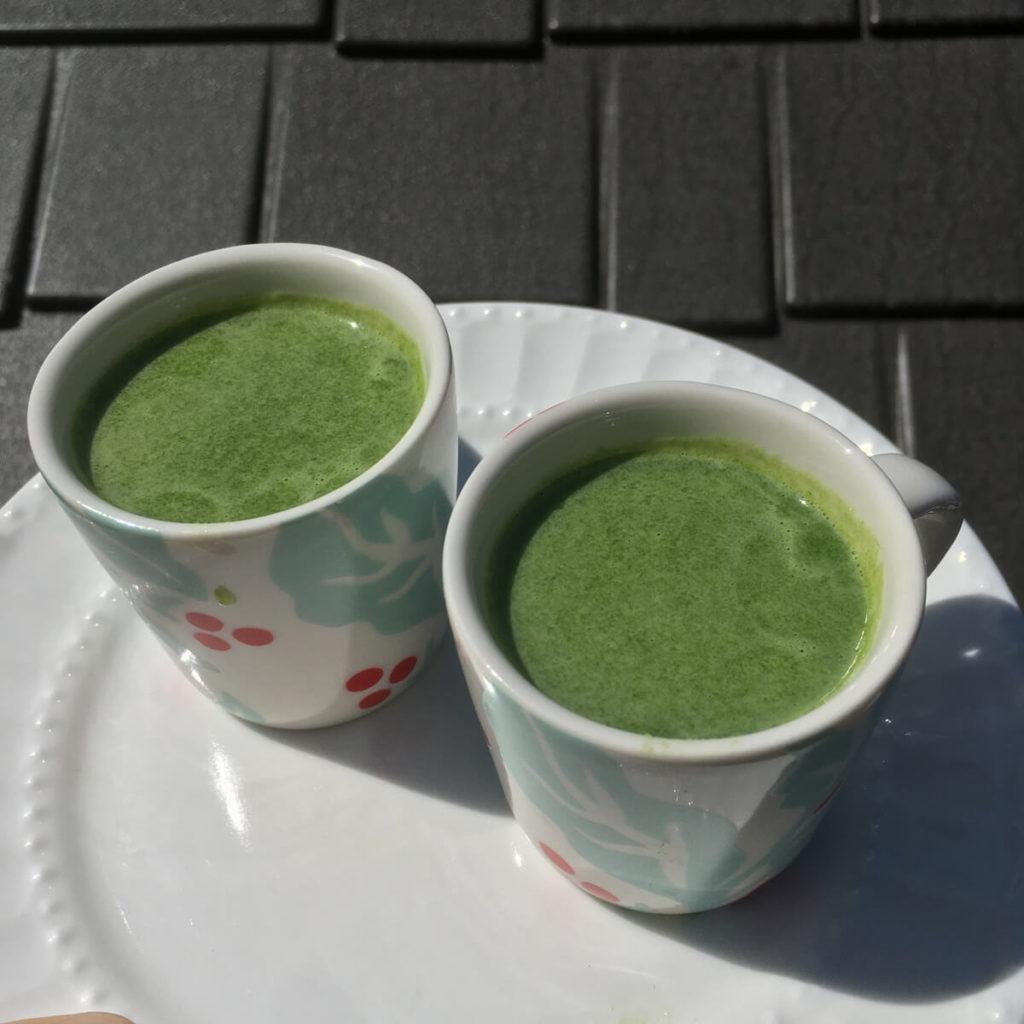 green juice in espresso mugs
